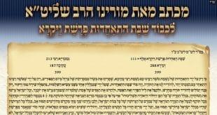 """מכתב שכתב הרב אליעזר ברלנד שליט""""א לשבת ההתאחדות"""