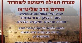 """עצרת תפילה לשחרורו הרב אליעזר ברלנד שליט""""א"""