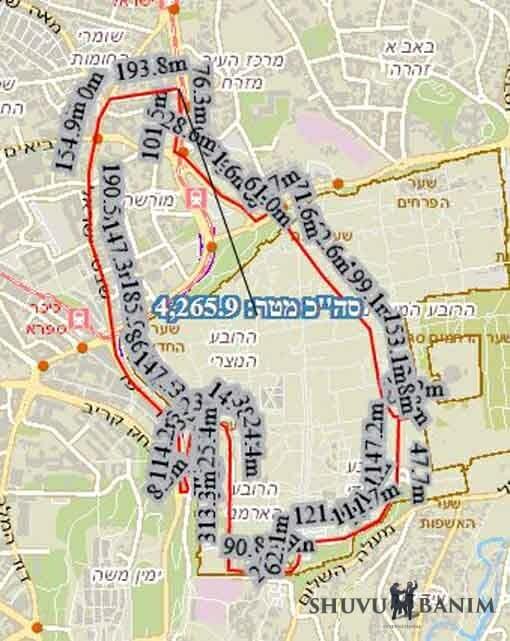 """המפה המראה את המסלול בו עברה תהלוכת הגה""""צ הרב אליעזר ברלנד שליט""""א בליל שמחת תורה תשע""""ט"""