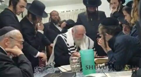 """כ""""ק הגה""""צ הרב אליעזר ברלנד שליט""""א בבית משפחת מן בשכונת מקור ברוך בירושלים"""